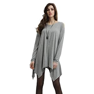Doublju Knit Tunics in Fine Stretch Fabric GRAY (US-M)
