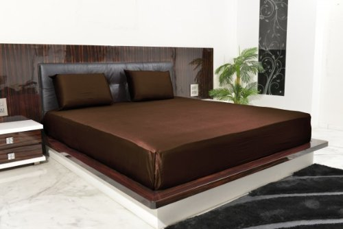 1000 Tc 100% Egyptian Cotton Sheet Set Solid Chocolate Twin front-888664
