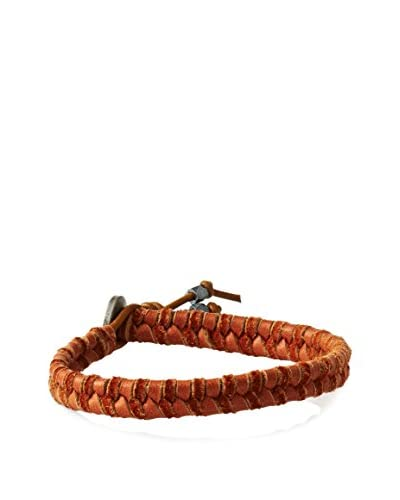 Ettika Rust Leather Cord with Flat Leather Braided Bracelet and Button Clasp