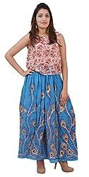Carrol Long Ethnic Skirt-Blue