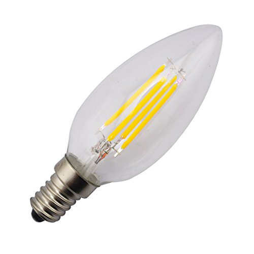 Sungetace E14 4W Cob Epistar 400Lm 2800K Warm White Led Candle Bulbs Tungste Filament Core Incandescent Lamp Ac110V 360 Degrees Transparent Glass Cover-To Replace 60W Incandescent Light