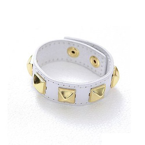 Pyramid Stud Wrap Bracelet - White