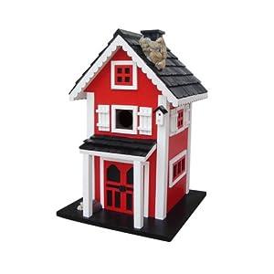Home Bazaar Glen Ridge Bird House, Red/White/Black