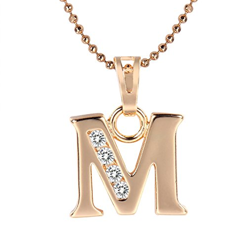 Snowman Lee Mother's Gift Initial Letter M Cubic Diamond Pendant Necklace