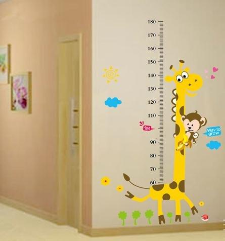 Large Giraffe Growth Chart Wall Decor For Children'S Room Wall Art Sticker Removable Happy Monkey Giraffe Height Chart Sticker front-106451