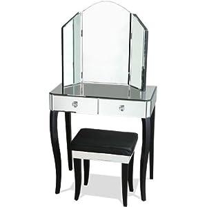 Azura Furniture Le Chambon Mirror Dressing Table Set