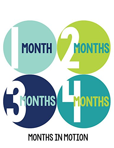 Months in Motion 300 Baby Month Stickers for Newborn Boy Blue Green