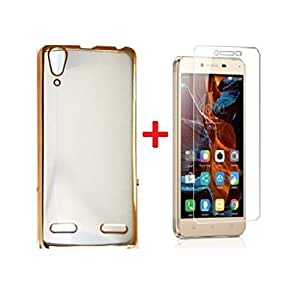 Sun Tiger MEEK (COMBO OFFER ) Lenovo VIBE K5 / K5 PLUS - Transparent Soft Silicon Flexible Electroplated Edges TPU Back Case Cover + Premium Tempered Glass screen pretector (Gold)