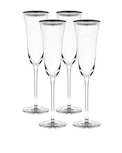 10 Strawberry Street Set of 4 Silver Banded Windsor Flutes, Clear/Silver