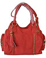 Big Buddha Jpilar Coral Faux Leather Chain Detail Side Pocket Satchel Shoulder Handbags