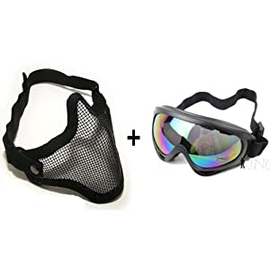 SODIAL (R) 2 in 1 Tactical Military Metal Mesh Mask + Protection Goggles Shooting Airsoft by SODIAL(R)