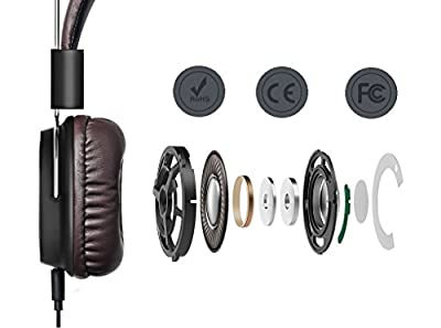 Karnotech® REMAX Wired Over-Ear Headphones HD Stereo Headset In-line Mic Volume Control 3.5mm Folding Gaming Earphones For iOS Android Smartphones Tablets PC (RM-100H Brown)