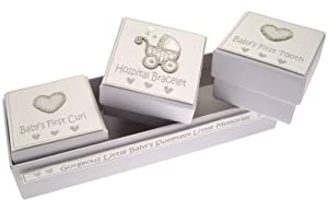 White Cotton Cards Pram Baby Silver 3-in-1 1st Curl and Tooth Keepsake Box from White Cotton Cards