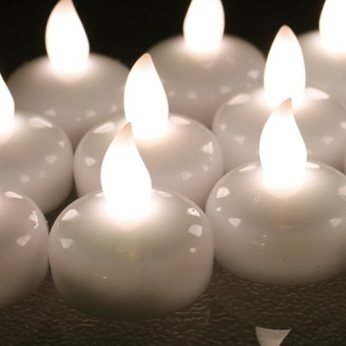 Image® 12 Pcs Smokeless Waterproof Floating Led Tealight Candle Warm White Wedding Holiday Christmas Xmas Party Decoration Floral Flameless