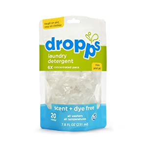 Dropps HE Laundry Detergent Pacs, Scent + Dye Free, 20 Loads