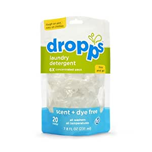 Dropps Laundry Detergent Pacs, Scent + Dye Free, 20 Loads (Pack of 3)