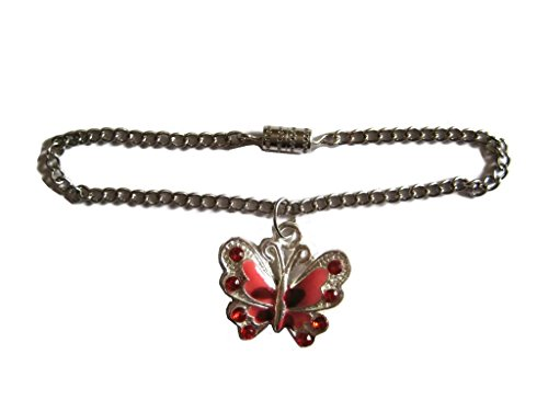Glamerup: Red Sparkly Butterfly Doll Necklace - Handmade to Fit Most 18 inch Dolls - 1