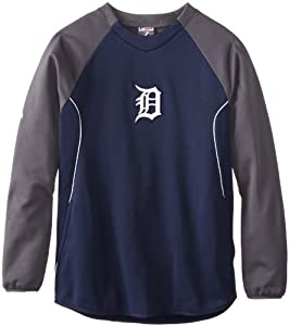 MLB Detroit Tigers Therma Base Tech Fleece, Navy Granite White by Majestic