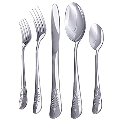 Flatware Set Sterling Quality, Royal Cutlery, Multipurpose Use for Home, Kitchen or Restaurant - by Utopia Kitchen (20 Pc Flatware Set)