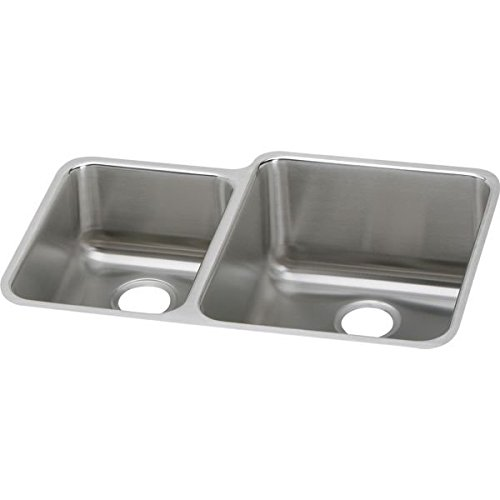 Elkay ELUH3121L Gourmet Stainless Steel 30-3/4-Inch x 21-Inch Undermount Double Basin Kitchen Sink