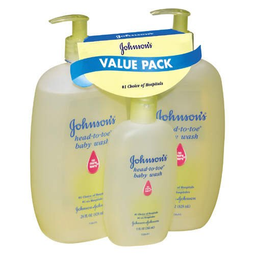 Johnson's Head-to-Toe Baby Wash Value Pack - Total: 65 oz (28 fl oz X 2 & 9 fl oz)