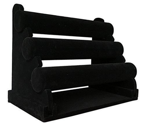Sodynee® Velvet Triple Tier Necklace Jewelry Bangle Bracelet Organizer Holder Display Stand, Black (Bangle Display Case compare prices)