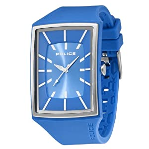 Police Men's Vantage X Watch 13077Mpbls/08 with Blue Pu Strap,Blue Dial and Silver Case