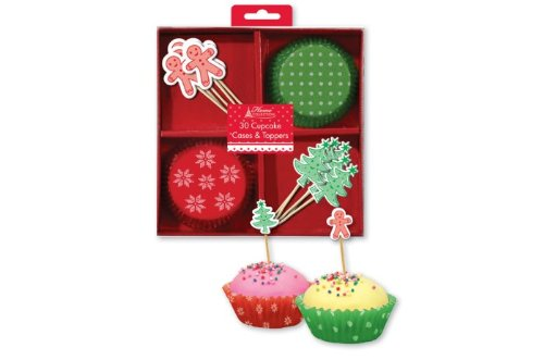 30 x Red & Green Christmas Xmas Cupcake Cases & Toppers Set Tree Gingerbread Man