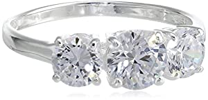 Sterling Silver Three-Stone Simulated Diamond Ring (3.83 cttw), Size 5
