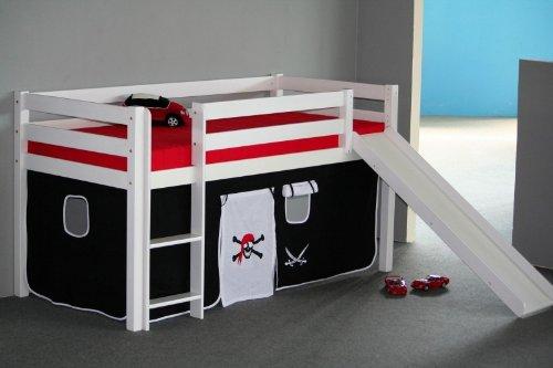 halbhohes Bett Jugendbett Hochbett mit Rutsche und Vorhang Buche massiv weiss kaufen