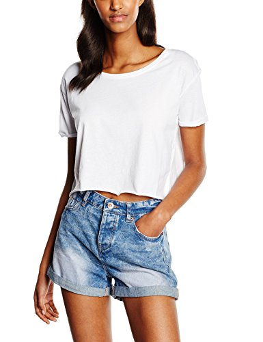 Urban Classics Ladies Short Tee, T-Shirt Donna, Weiß (White 220), Large