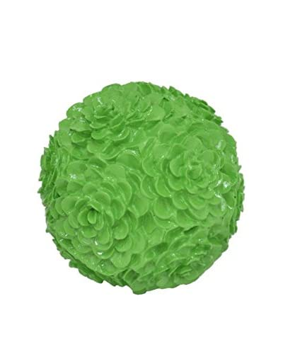 Three Hands Resin Floral Orb, Green