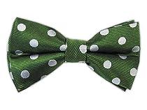 100% Silk Woven Clover Green Large Polka Dot Self-Tie Bow Tie