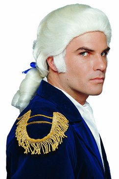 Mens Costume Wigs White Royal Colonial Ponytail+Bow Wig Adult Standard