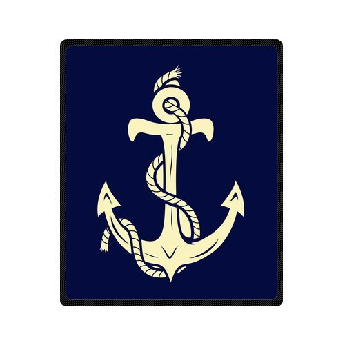 Personalized Fashion Retro Navy Sailor Anchor Picture Fleece Blanket 50 X 60 back-1073127