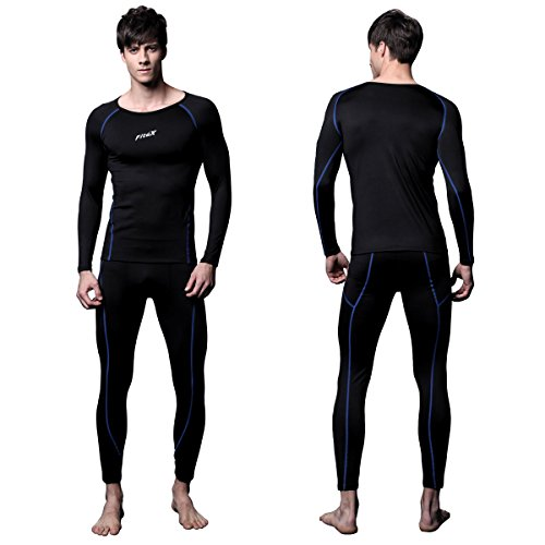 FiteX Mens MAXHEAT Soft Fleece Long Johns Thermal Underwear Set Black L (Thermal Performance compare prices)