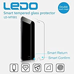 LEDO iPhone 6/6S Smart Touch Tempered Glass Screen Protector with Smart Confirm and Return Buttons and 9H Hardness and 99% Transparency