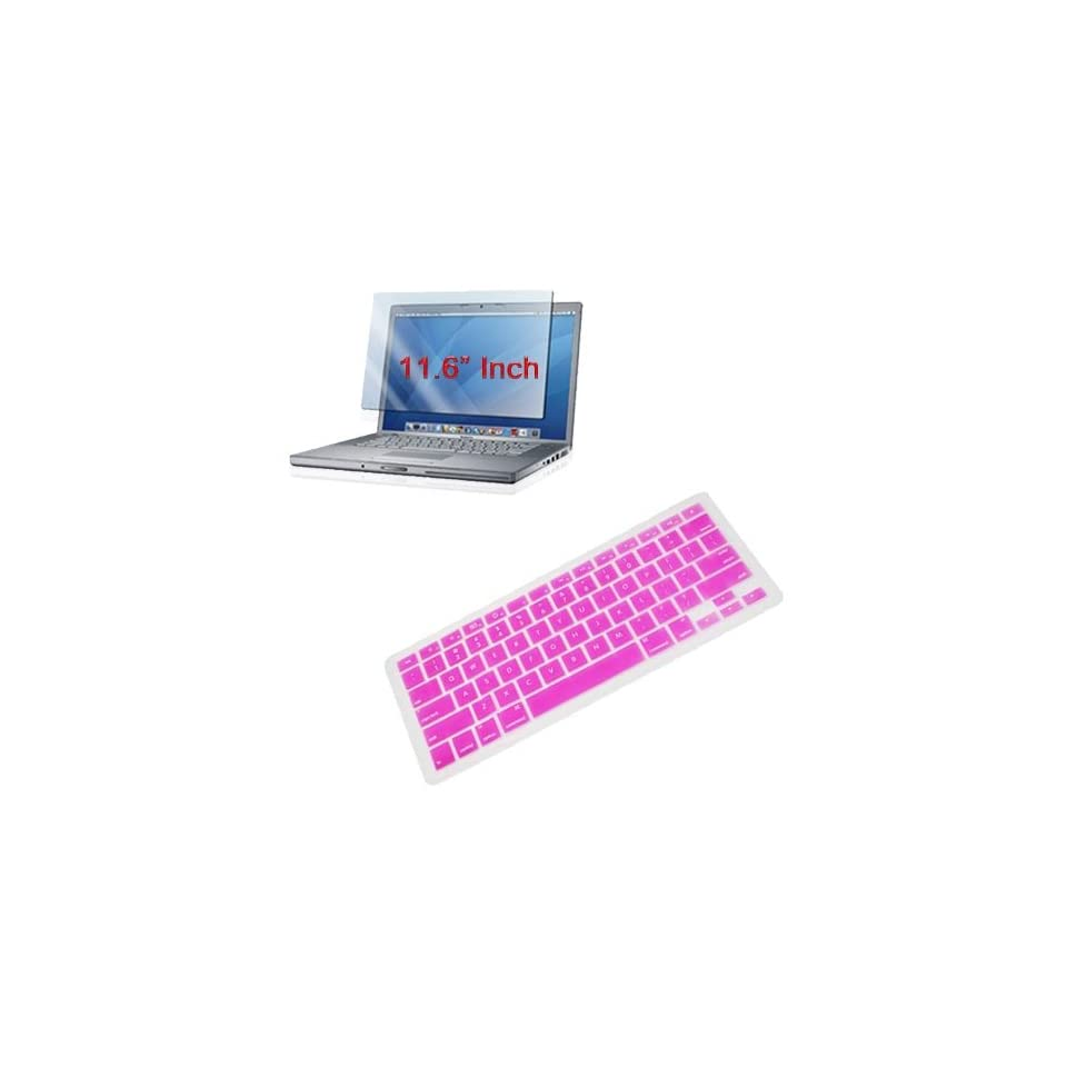 Skque Premium Pink Silicone Keyboard Cover + 11.6 inch Clear Screen Protector for Apple MacBook Air 11.6 Inch Laptop