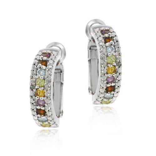 Sterling Silver Multi Color Gemstone & Diamond Half Hoop Earrings