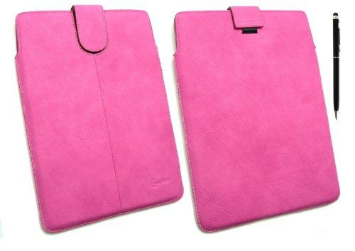 Emartbuy ® Stylus Pack - Black Dual Function Stylus + Hot Pink Pu Leder Secured Slide In Pouch / Case / Sleeve / Halter Mit Pull Tab Mechanismus Geeignet Für Samsung Galaxy Tab 2 10,1 Tablet (P5100 / P5110) (10-11 Zoll Tablet)