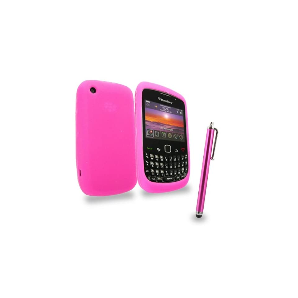 Mobile Palace  Pink silicone case cover pouch with pink stylus for blackberry 8520