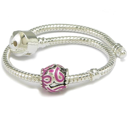 Pink Ribbon Enameled Silver Gilt Support Barrel Charm & Bracelet - 9 Inches - Pandora Compatible