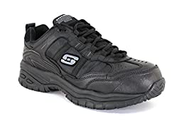 Skechers Men\'s Soft Stride Grinnel Black Leather Work 14 2E US