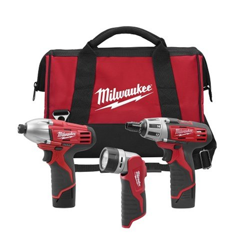 Milwaukee 2490-23 12-Volt Compact Drill, Impact Wrench, And Worklight Combo Kit