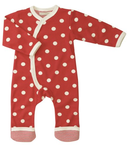 ORGANIC SPOTTY ROMPER - RED 0-5 MONTHS