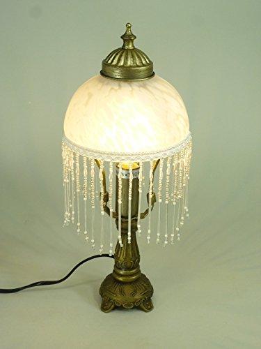 LED-Tischleuchte-Landhausstil-Weide-messing-antik-Glasschirm-inklusive-LED-Leuchtmittel-E14-2Watt-Lampe