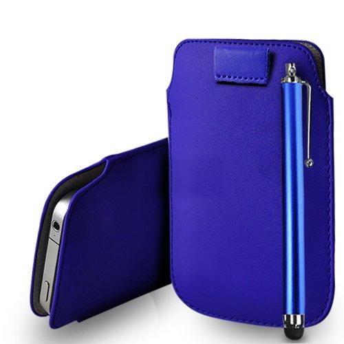 Huawei Ascend G620s Blue Leder Pull Tab Tasche Tasche + Stylus Pen & Poliertuch
