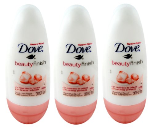 Dove Beauty Finish Anti-perspirant Deodorant Roll-on 50ml (1.7 Fluid Ounce). (Pack of 3)