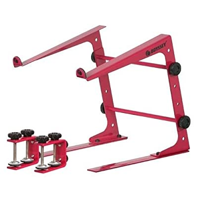 Odyssey LSTAND RED Red Adjustable DJ Laptop Stand + Case/Table Clamps With Three Configuration Settings