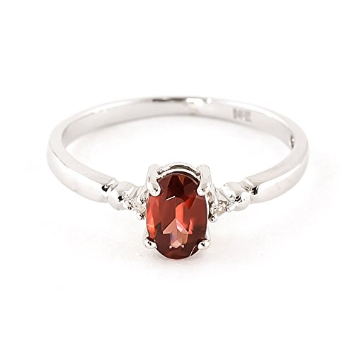 QP Jewellers Natural Diamond & Garnet Ring in 9ct White Gold, 0.45ct Oval Cut - 1222W